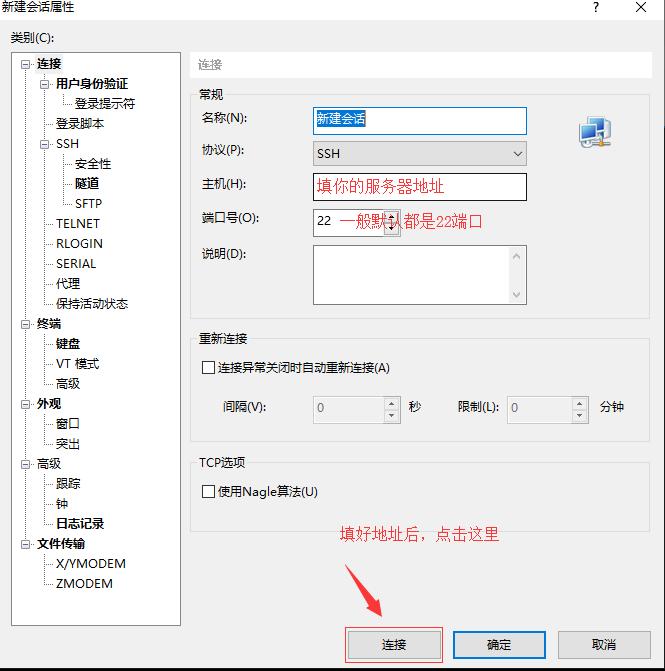 输入服务器地址